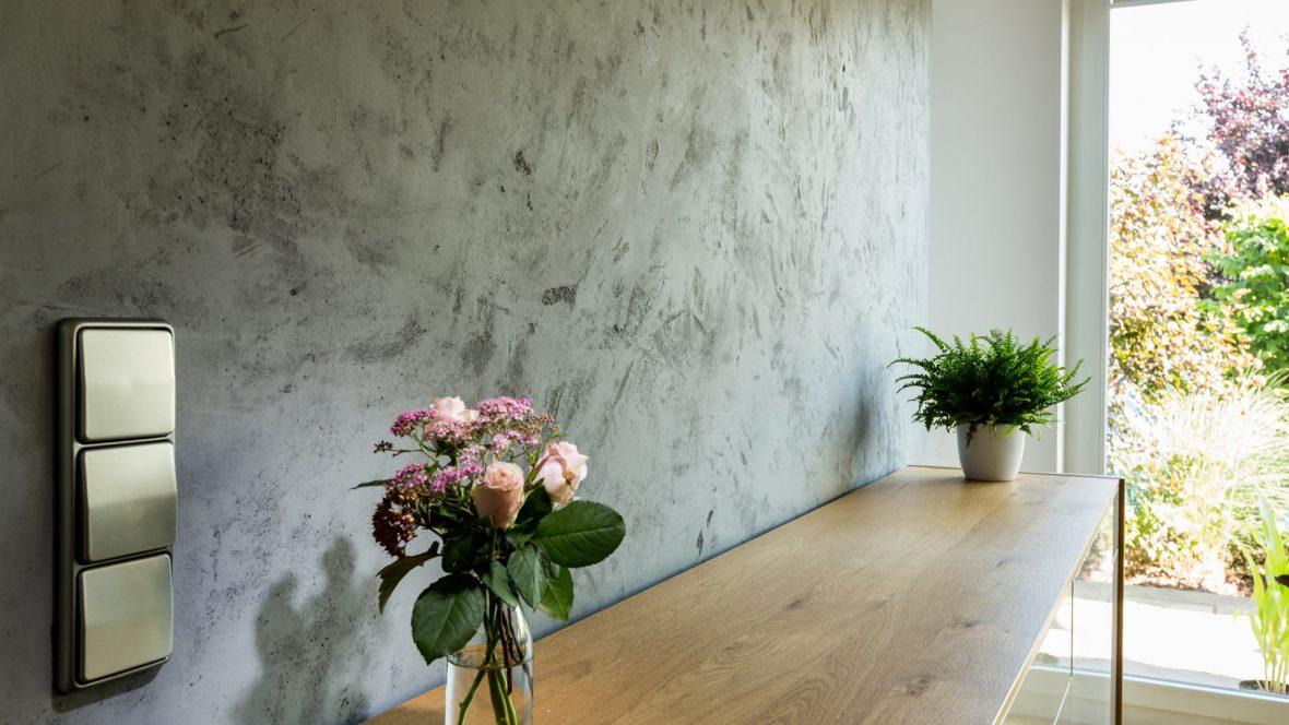 Esszimmer Wandgestaltung Cara Unico Stone Betonoptik Concrete Hannover Maler Heyse