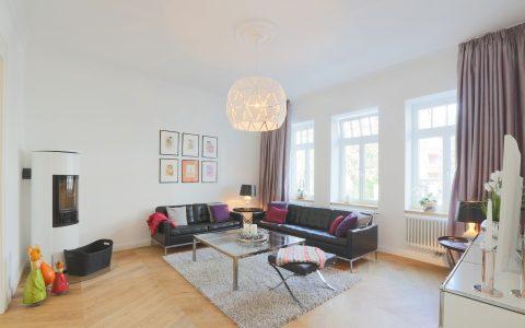 Wohnzimmer Malerarbeiten Altbausanierung Hannover Stadthaus