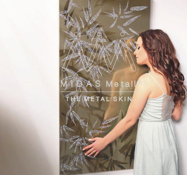 MIDAS Metall Art Piece Bamboo in White Gold with Swarovski Chrystals by Nico Mastroprimiano