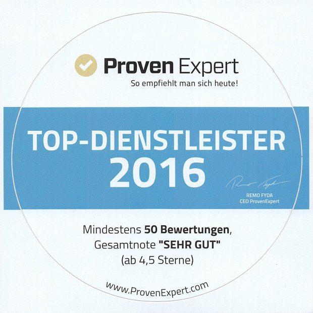 ProvenExpert Aufkleber Top Dienstleister 2016 620x620