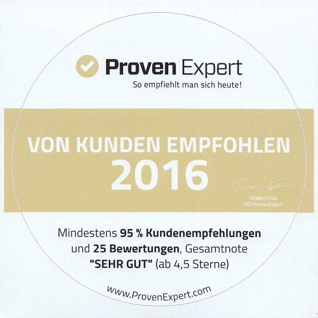 ProvenExpert Aufkleber vom Kunden empfohlen 620x620