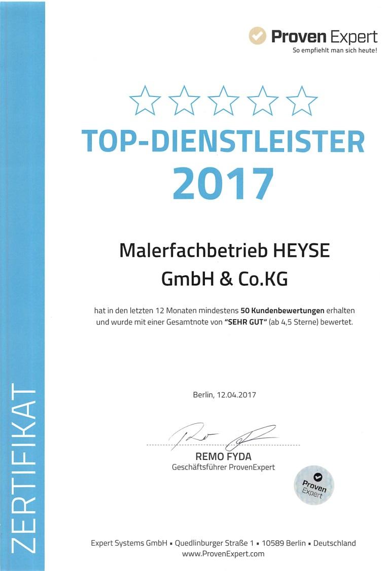 Provenexpert Siegel Top Dienstleister 2017