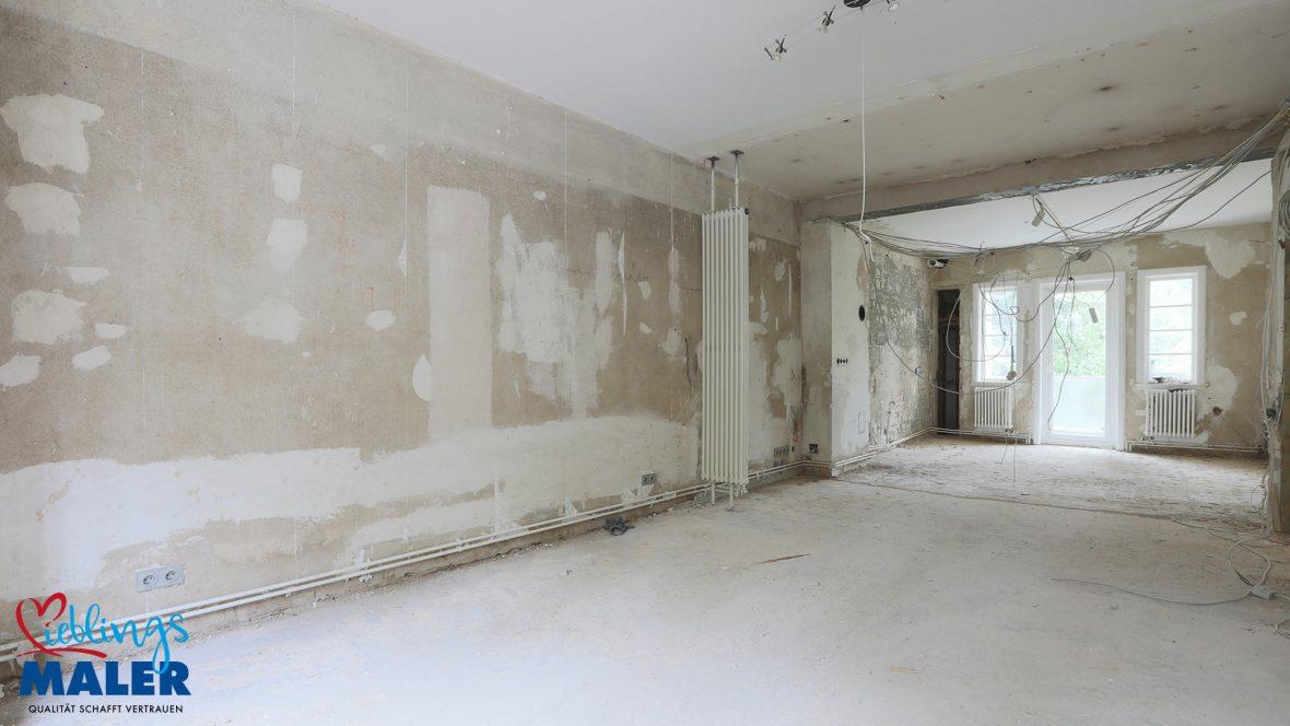 Sanierung Altbausanierung Malerarbeiten Hannover Fugenlos Spachteltechnik Esszimmer vorher 01