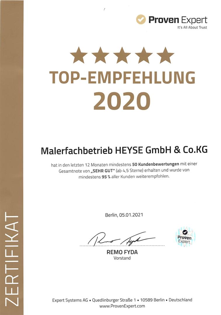 ProvenExpert Top Empfehlungen 2020 Maler Heyse Hannover